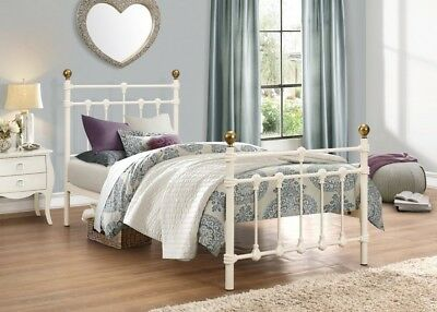 Traditional Atlas 3ft Single Metal Bed Frame Cream with Antique Brass Finials