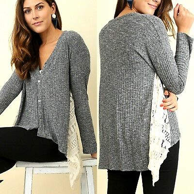 d56013d8 Umgee Top Size XL S M L Lace Long Sleeve Button Cardigan Tunic Womens Shirt  New