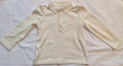 New Girls Ralph Lauren Soft Cotton Long Sleeves Polo Shirt 9 Months-Cream