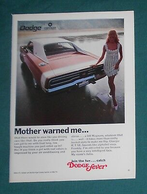 (4) Original Dodge Charger  Print Ads   1968-1975