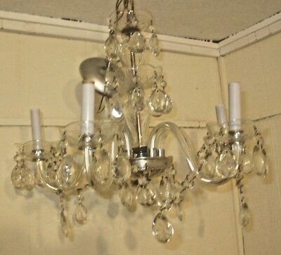 Vintage 5 Arm 5 Light Glass Crystal Chandelier Light Fixture Glass Prism & Chain