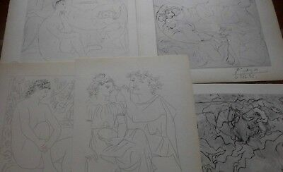 Pablo Picasso Five Old 1956 Lithographs Vollard Suite hand signed