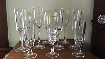 BEAUTIFUL - Lot of 10 Mix Matched Crystal Champagne Flutes