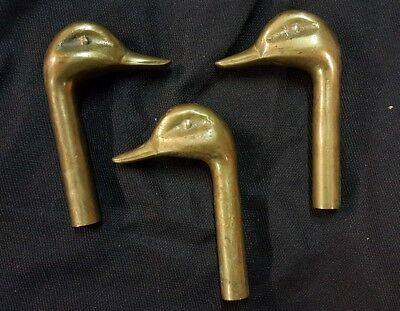 """Lot of 3 Vintage Solid Brass Threaded Duck Heads for Fireplace Set 3.85"""" Long"""