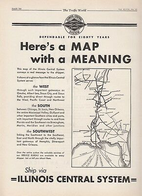 1931 Illinois Central Railroad Ad: Here's a Map With a Meaning