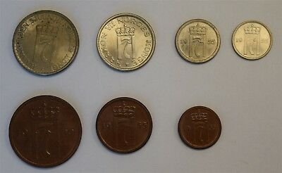 """1955 Norway Complete Coinage Set """"Choice BU"""" *Free S/H After 1st Item*"""