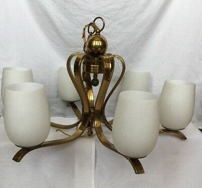 Vintage Antique Mid Century Chandelier Hanging Light Lamp Brass & Glass 1960s