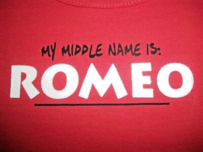 Valentine's Day MY MIDDLE NAME IS ROMEO New 6 M Infant Boy Bodysuit 6 Month 6M