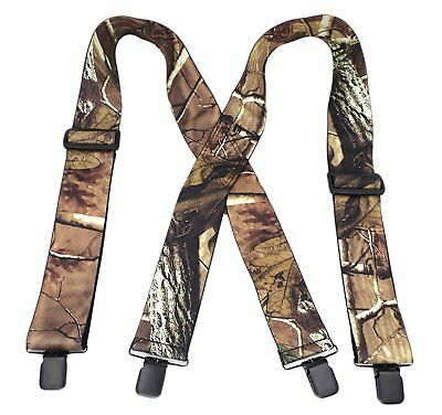 "MENDENG Mens 2"" Camo Suspenders X Back Elastic Strong Clips Heavy Duty Braces"