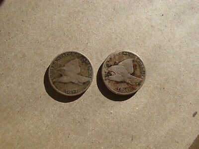 1857 & 1858 Flying Eagle Ll Cent Copper Nickel 2 Coin Lot