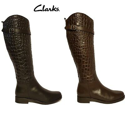 Quien Hora Stevenson  CLARKS HOPEDALE WISH Black & Brown Croc Embossed Leather Knee High Boots  Ladies - £54.99 | PicClick UK