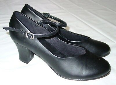 """Womens So Danca Character Shoes Black Size 7.5 Mary Jane 2.5"""" Heel"""