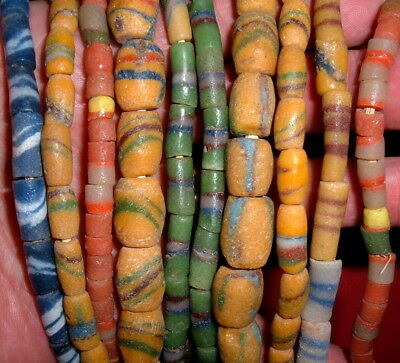 (5) Strands of Nice Sand-Cast Trade Beads From Ghana, Collectible African Beads