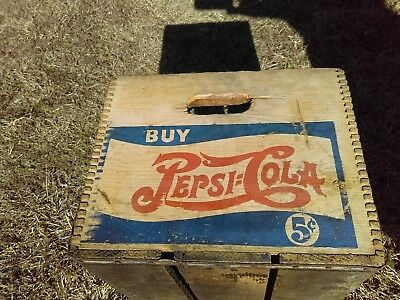 PEPSI COLA 5 c DOVETAIL WOOD BOTTLE CARRIER