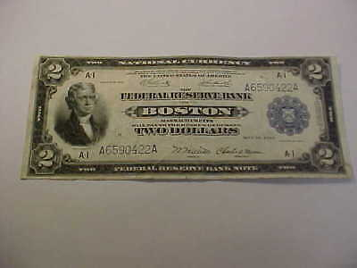 Beautiful 1918 Boston  $2 Large Currency Vf Ish Federal Reserve Eagle  Note