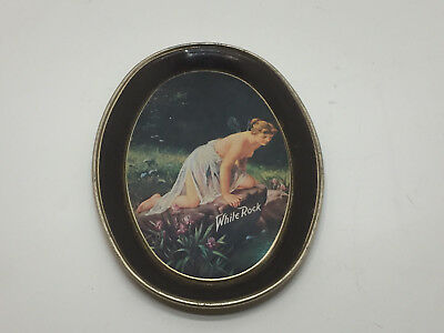 Collectible White Rock Fairy Lady Art Tin/Metal Oval Tip Tray Fabcraft Inc USA