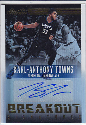 2016/17 Panini STUDIO GOLD BREAKOUT SIGNATURES #33 KARL-ANTHONY TOWNS 46/49 AUTO
