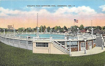 Anderson Indiana~Athletic Park Swimming Pool~People along Railing~1940s Postcard