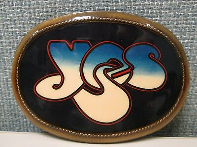 YES Belt Buckle 1977 Brass Pacifica Mfg Vintage Rock Band