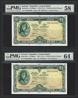 1974 Central Bank of Ireland 1 Pound, 2x Consective, PMG 64 and 58, Au+ and UNC