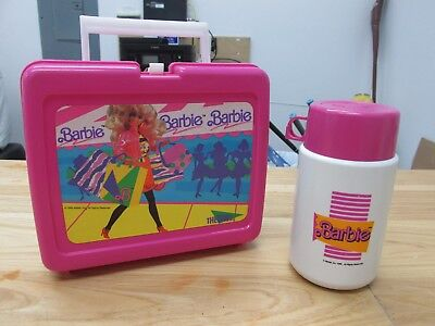 Barbie Thermos Lunch Box w Thermos 1990 Pink Free Shipping Made In USA  712535