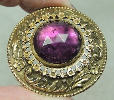 ANTIQUE  BRASS BUTTON W/ FACETED  AMETHYST GLASS JEWEL GAY 90's  METAL