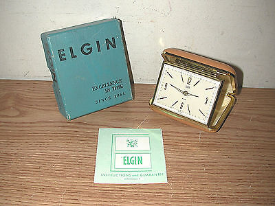 Vintage 1966 Elgin Series 8900 F Tan Travel Alarm Clock With Original Box