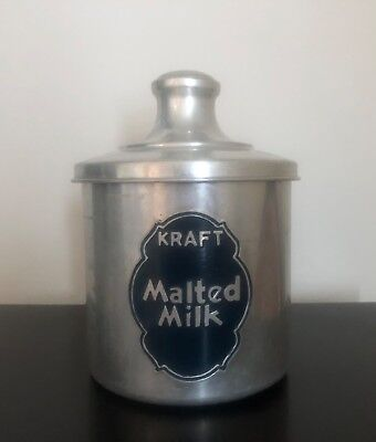 Kraft 1950s Malted Milk Aluminum Collectible Advertising Tin Can Vintage Antique