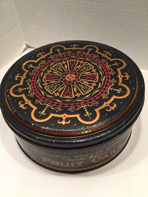 """Antique Fruitcake Tin Uneeda NBC National Biscuit Co Black Red Gold 7 1/2""""D"""