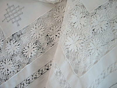 Antique VTG White Linen Tenerife Lace Table Topper Tablecloth 6 Cocktail Napkins