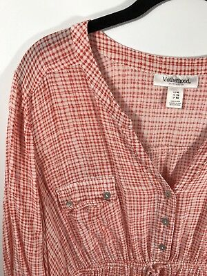 Motherhood Maternity Shirt XL Tie Front Tunic Top Red White 3/4 Sleeve rayon