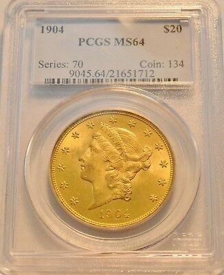 1904 $20 PCGS MS 64 Gold Liberty Double Eagle, Uncirculated Twenty Dollar Coin