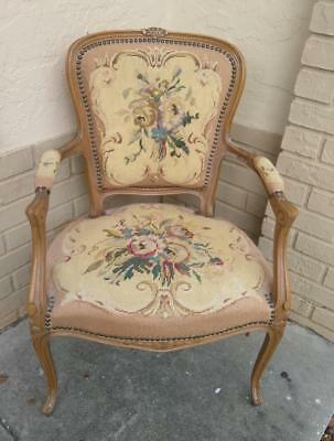 Vintage Antique French Style Fautiel Needlepoint Arm Chair Carved Wood Belgium