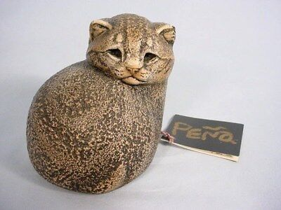 Windstone Editions Cat Figurine with Tag Natural Mineral Stone Pena Excellent