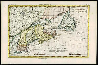 1780 Antique Map L'ISLE DE TERRE NEUVE Canada Martha's Vineyard USA by Bonne (6)