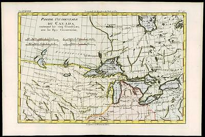 1780 Antique Map of Partie Occidentale du CANADA GREAT LAKES   by Bonne