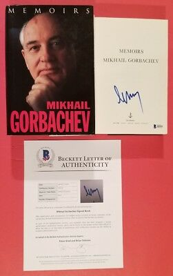 """Mikhail Gorbachev Signed Hardcover Book """"memoirs"""" Certified With Beckett Bas Coa"""