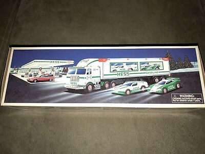 Hess 1997 Toy Truck and Racers with Friction Motors New in Open Box