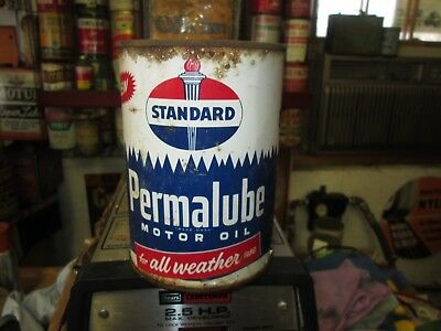 Early Original Standard Permalube Motor Oil Quart Metal Can