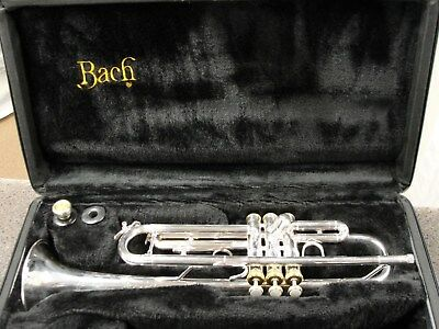 Bach Soloist TR200 trumpet silver plated with gold finger buttons and valve caps