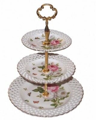 Chinaware Butterfly Rose 3-Tier Cake Stand Gift Boxed