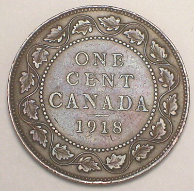 1918 Canada Canadian One 1 Cent King George V Coin VF+