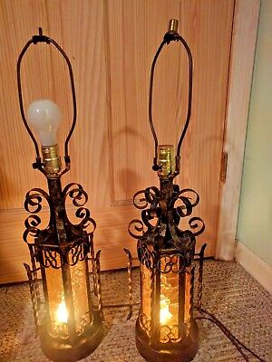 Vintage Pair of Wrought Iron Spanish Style Spanish Gothic Table Lamps