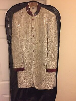 Mens Janan White Red silver Velvet Sherwani wedding Suit Size 38/40 Chest