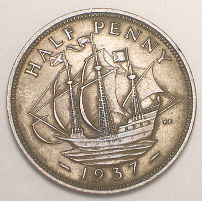 1937 UK Great Britain British Half 1/2 Penny Warship WWII Coin VF+
