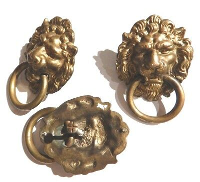3 LARGE VINTAGE BRASS LION DOOR KNOCKERS drawer pull bronze knob ring handle B2