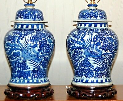 Chinese Blue & White Ginger Jar LAMPS PAIR Phoenix Vases Fenghuang Hoho Canton