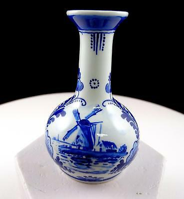 "Royal Delft Porcelain Blue And White Windmill And Floral 3 1/2"" Mini Bud Vase"