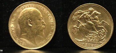 1909 Melbourne Mint OLD GOLD Sovereign-KING EDWARD VII Attractive lustrous coin