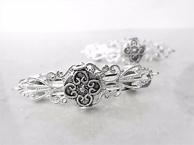 Small silver flower celtic metal filigree hair clip barrette (set of two)